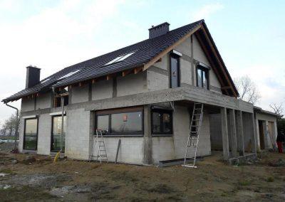 Dąbrowa Oleśnicka – montaż okien drewnianych+pvc+fasada aluminiowa